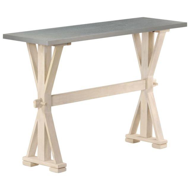 Consoles selection San Salvador Table console avec dessus en zinc 118x35x76 cm Bois de manguier