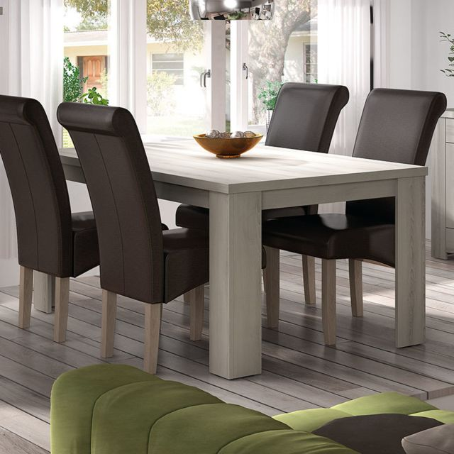 Kasalinea Table contemporaine 180 cm couleur bois clair Opaline