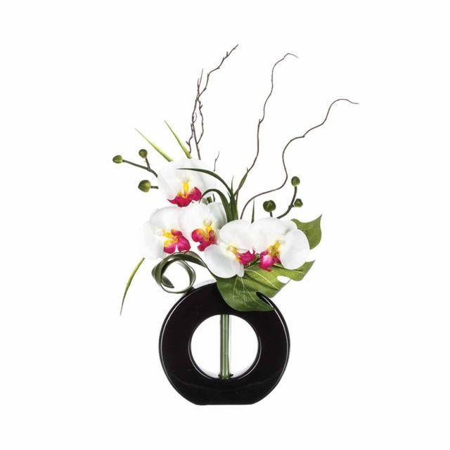 atmosphera - composition florale vase noir - hauteur 44 cm