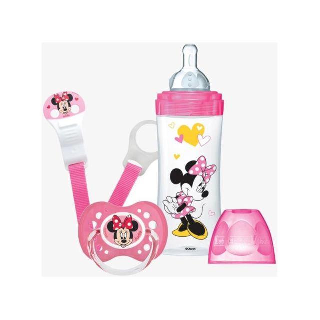 Dodie Mon Coffret Minnie 1 biberon Initiation+ 330ml rose, 1 sucette anatomique +18 mois, 1 attache sucette Disney Baby