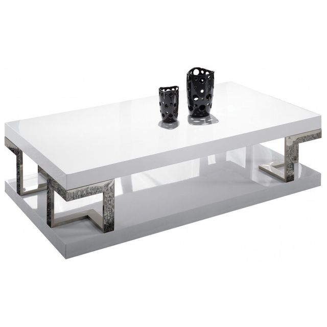 Comforium Table basse rectangulaire en Mdf coloris blanc laqué