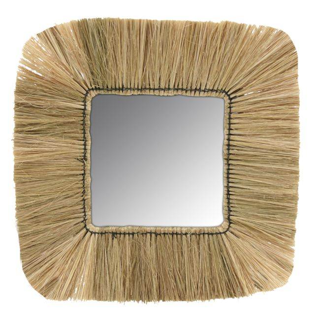 AUBRY GASPARD Miroir carré en jonc naturel