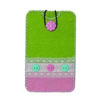Kleiber - 1 Pochette En Feutre Pour Smartphone Green/PINK Size L Ca 9,2 X 15,5 Cm