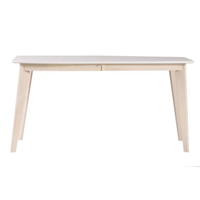 Miliboo - Table à manger extensible scandinave blanc et bois clair ...
