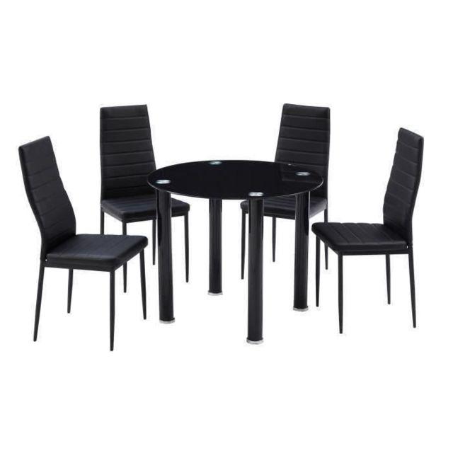 TABLE A MANGER AVEC CHAISES BERENICE Ensemble table a manger ronde en verre 4 personnes 90 cm + 4 chaises en simili - No