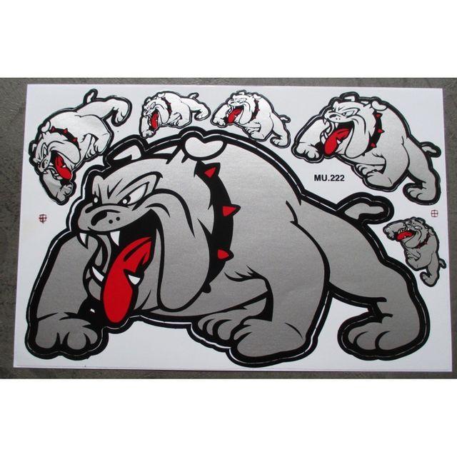 Universel Planche de stickers bulldog gris autocollant rock chien