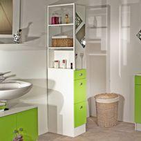 Marque Generique - Colonne salle de bain 3 tiroirs 1 miroir L24.5xP54xH181.50cm Banio - Blanc / Vert