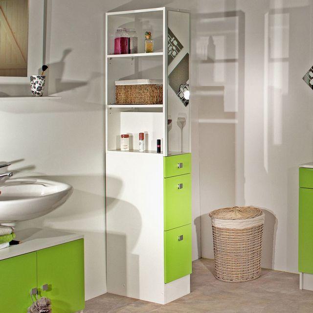 marque generique colonne salle de bain 3 tiroirs 1 miroir banio blanc. Black Bedroom Furniture Sets. Home Design Ideas
