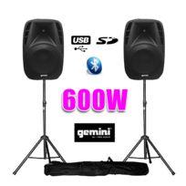 """Gemini - Paire d'enceintes amplifiées Boomer 8"""" 600W + pied"""