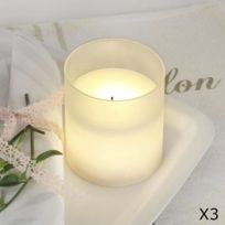 Best Season - Led Candle Glass - Lot de 3 Bougies en verre Led H10cm - Guirlande et objet lumineux designé par