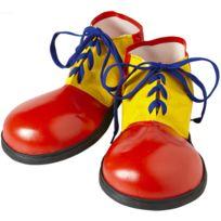 Widmann - Chaussures De Clown Rouge et Jaune - Lacets Bleus