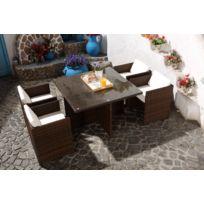 Magnifique Salon de jardin Florida 4 Marron/Blanc : salon encastrable 4 personnes en résine tressée marron poly rotin