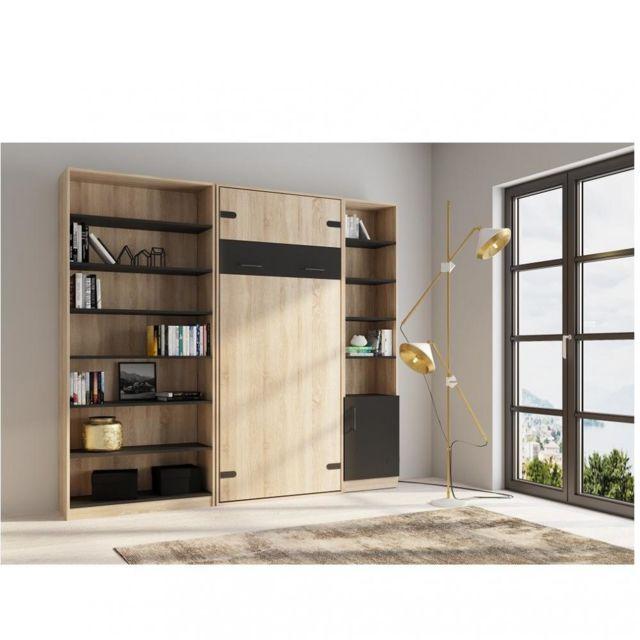 Inside 75 Composition lit escamotable style industriel Tekno bi-ton chêne noir mat 90 200 cm L : 255 cm
