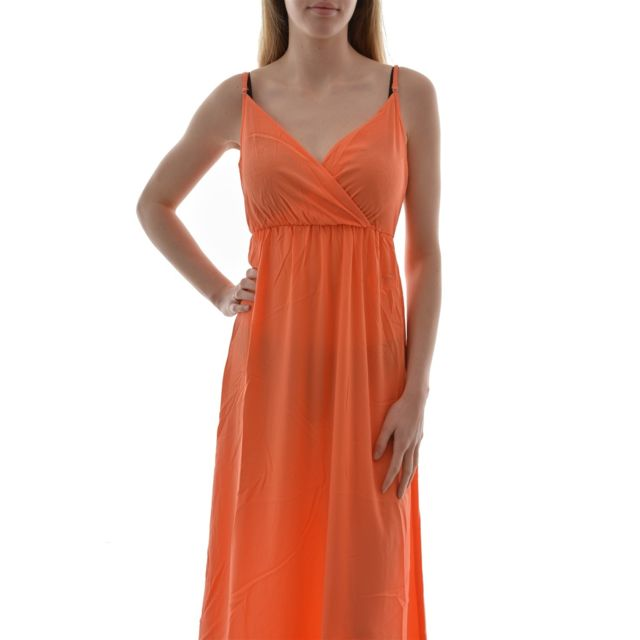 b404e0cd5ce4d Only - Robe stusmart sl maxi cross dress solid orange - pas cher ...