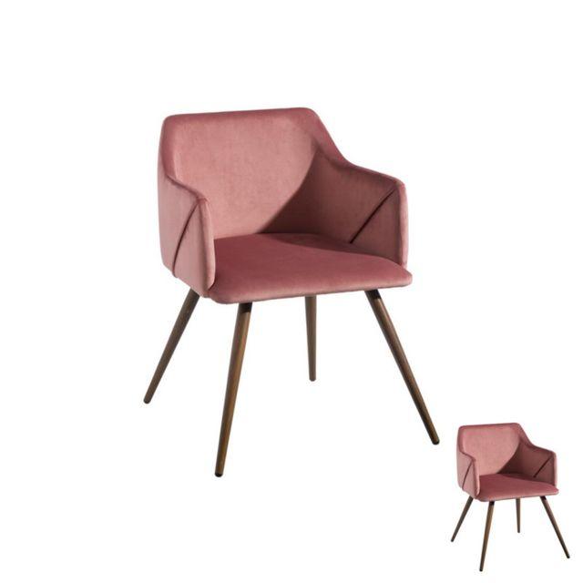 Tousmesmeubles Duo de fauteuils velours Rose - Dona