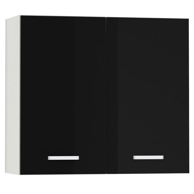 Comforium Meuble haut de cuisine design 80 cm avec 2 portes coloris blanc mat et noir laqué