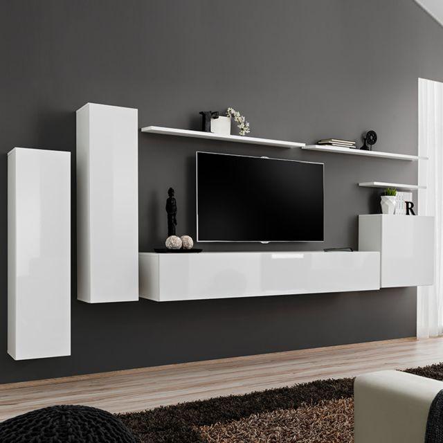 Nouvomeuble Banc Tv mural blanc laqué Andria 3