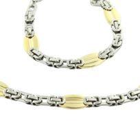 Metronhomme - Parure en Acier et Argenté Doré Collier Chaine Bracelet Homme M H 1179