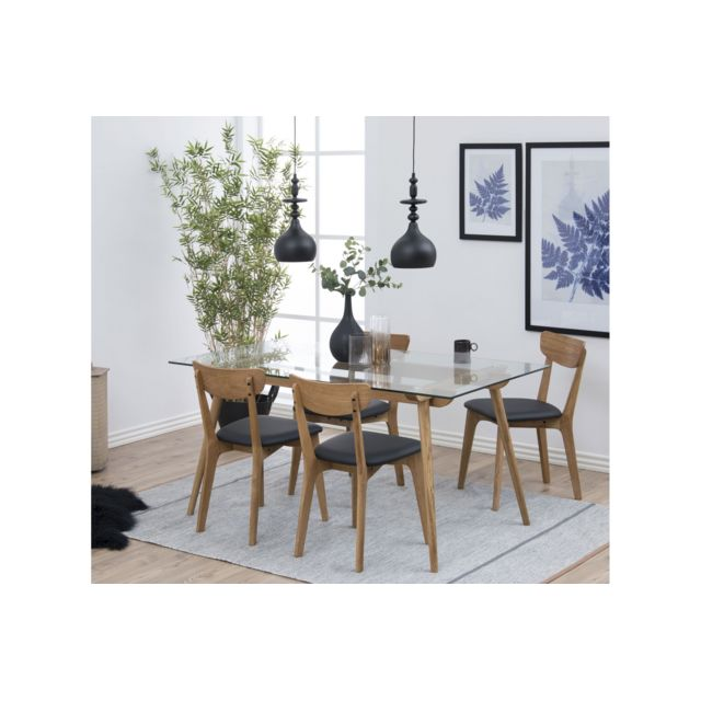 HELLIN Table moderne en bois et verre - PAIXA