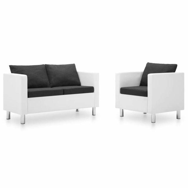 Moderne Meubles gamme Dili Ensemble de canapé 2 pcs Similicuir Blanc et gris foncé