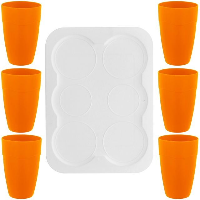 Promobo Coffret Service Orangeade Cocktail Apéro 6 Personnes Maxi Gobelet Plateau Repose Verre Orange
