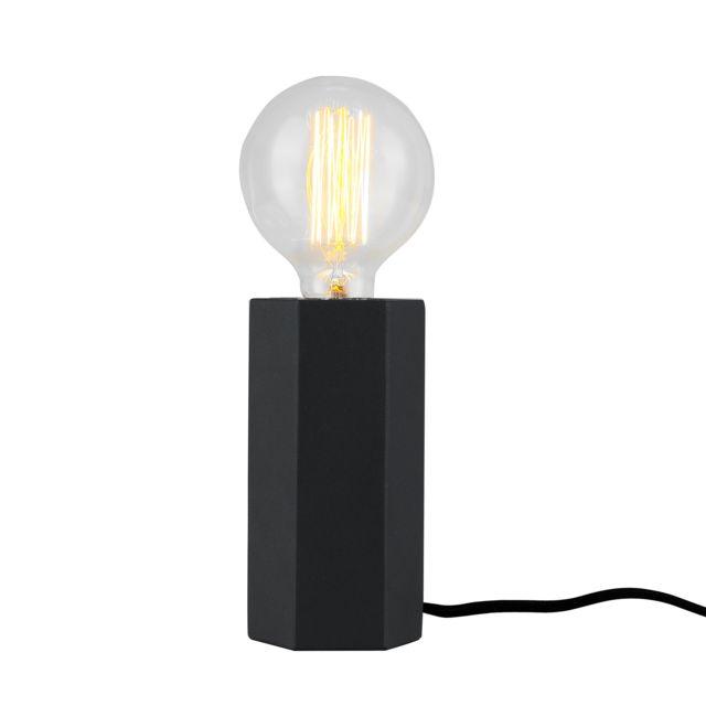 Rendez Vous Deco - Lampe à poser Ether noire ampoule incluse 8cm x 8cm x 15cm
