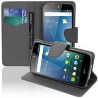 Vcomp - Housse Coque Etui portefeuille Support Video Livre rabat cuir Pu effet tissu pour Acer Liquid Z630/ Z630S - Noir