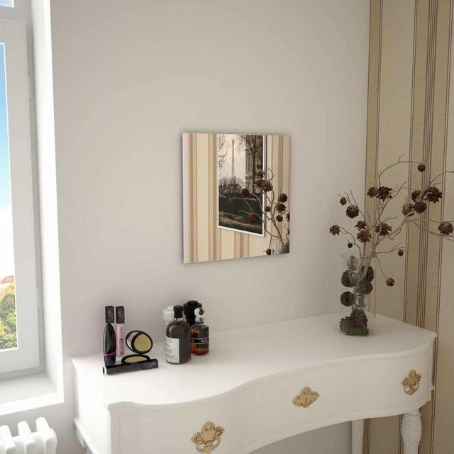 vidaXL Miroir Mural 40 cm Rond Verre Décoration Mur Salle de Séjour Maison