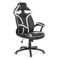 Hjh Office - Chaise gaming / Chaise de bureau Guardian simili cuir noir / blanc