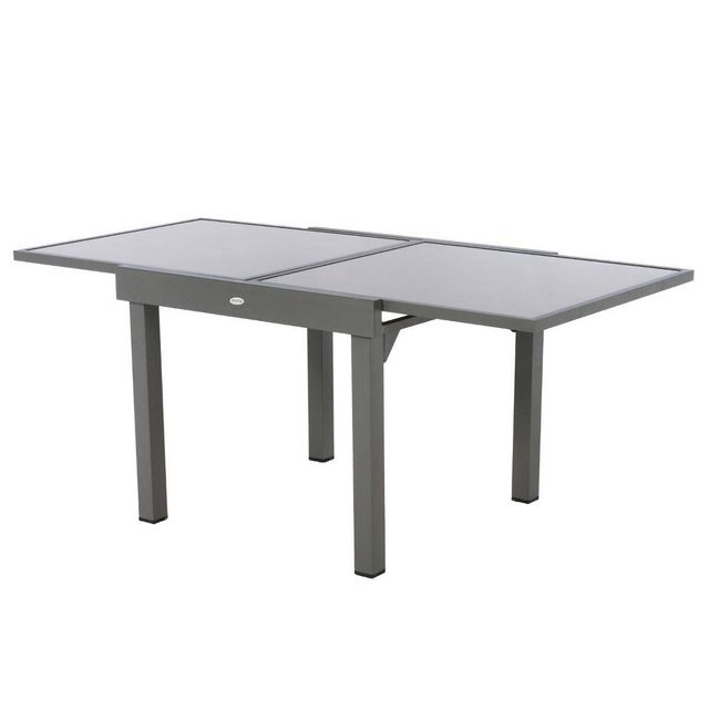 HESPERIDE - Table extensible carrée en verre Piazza 4/8 places Taupe ...