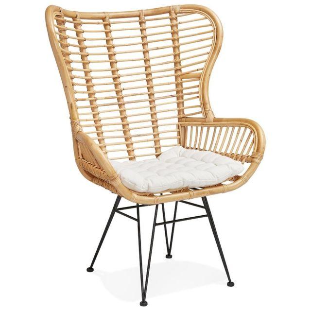 alterego fauteuil oreilles bolivo en rotin beige pas cher achat vente fauteuils rueducommerce - Fauteuil A Oreille Pas Cher