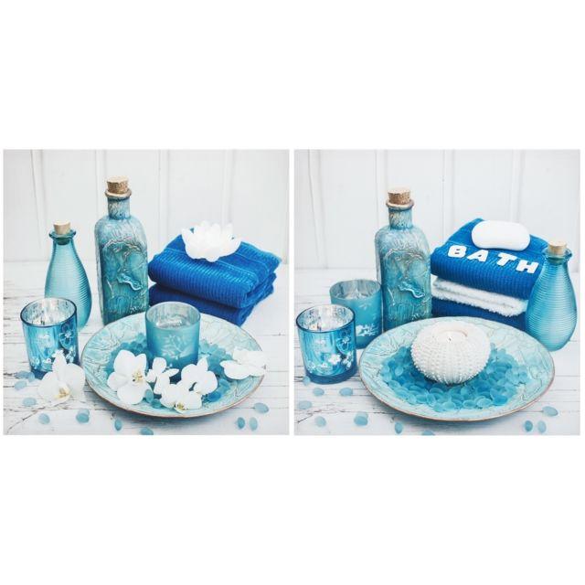 Ensemble 2 Tableau Toile Cadre Inscription Spa Salle De Bain Serviette Bleu  40 x 40 cm