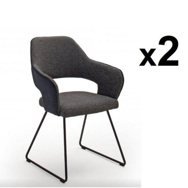 Inside 75 Lot de 2 chaises design Nabas tissu anthracite pieds traîneau laque anthracite