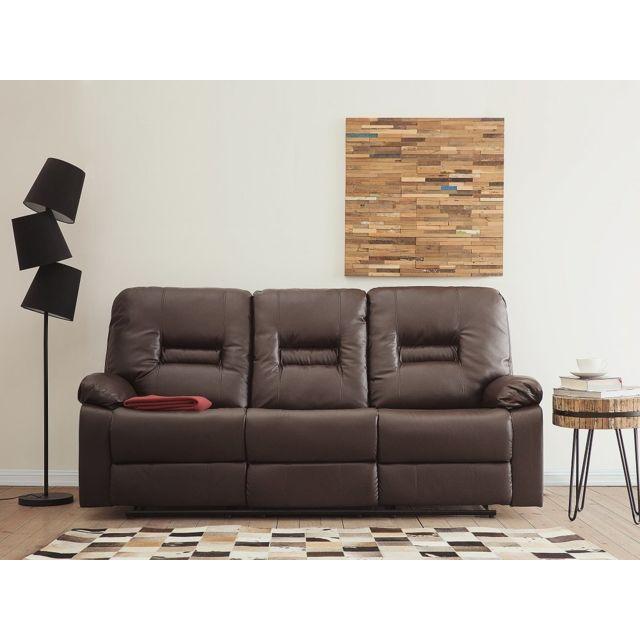 Beliani Canapé 3 places en simili cuir marron avec position réglable Bergen