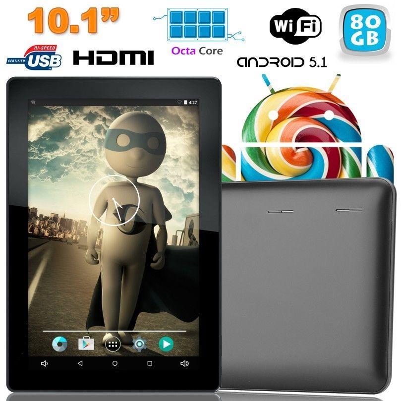 Tablette tactile 10 pouces Android Lollipop 5.1 Octa Core 80Go Noir
