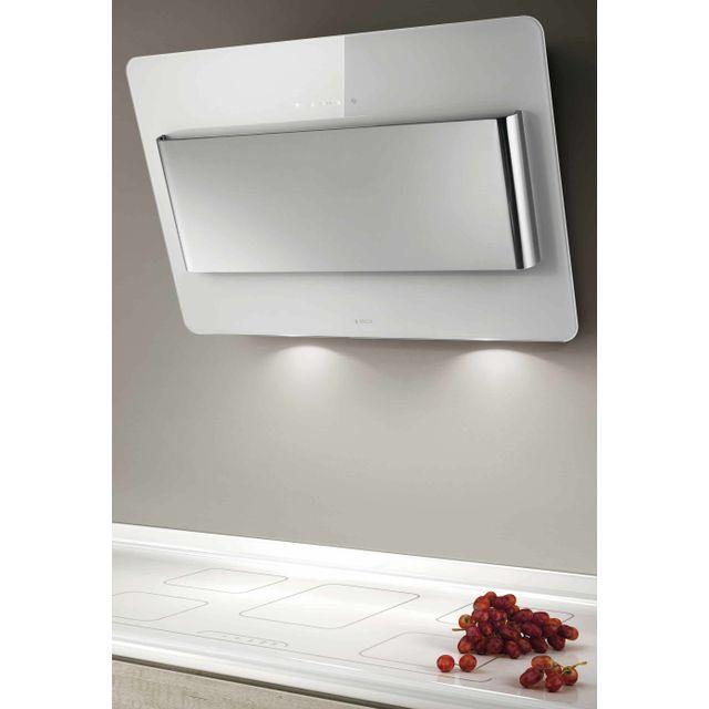 ELICA hotte décorative inclinée 80cm 603m3/h blanc/inox - prf0038443a