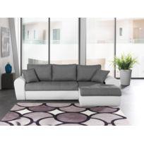 Modern sofa - Liza angle droit avec poufs savana gris / pvc blanc