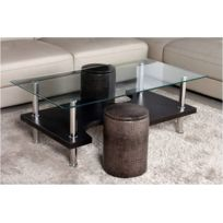 Kit A Faire - Table Basse Moderne Et Design Plateau En Verre Et Marron 110cm + 2 Poufs