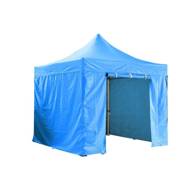 Greaden Barnum pliante 3x3m 50mm en aluminium premium Pro 520Gr/m2 avec pack 4 murs amovibles - bleu - tente pliante - Gr-1FCM33