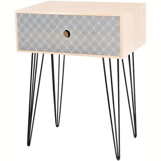 promobo table de chevet scandinave en bois cercle rosace dco cosy