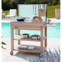 Cristel - Table roulante billot dessus inox brossé et façade bois 90 x 60 cm Cm90IBCB-Cookmobil par