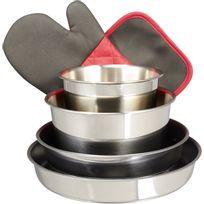 CARREFOUR HOME - Batterie de cuisine - 8 pièces - Inox - Blanc