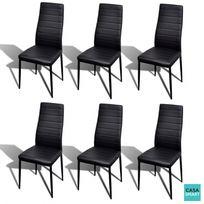CASASMART - Set d'une table en verre et 6 chaises noires