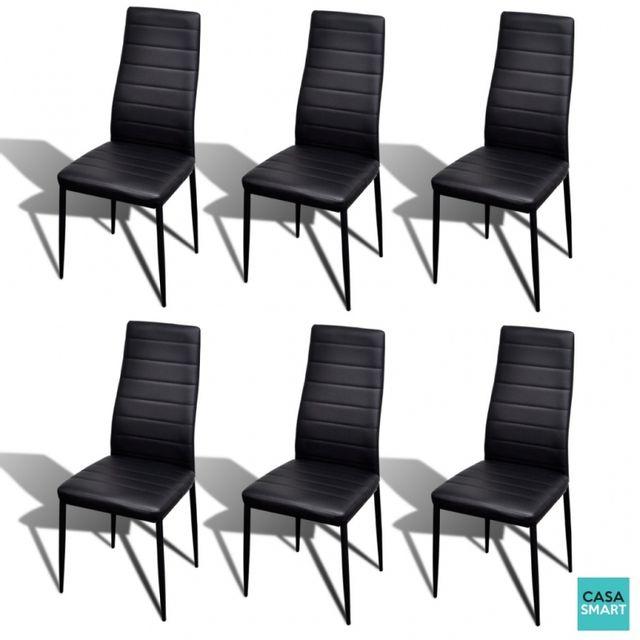 Casasmart Set d'une table en verre et 6 chaises noires