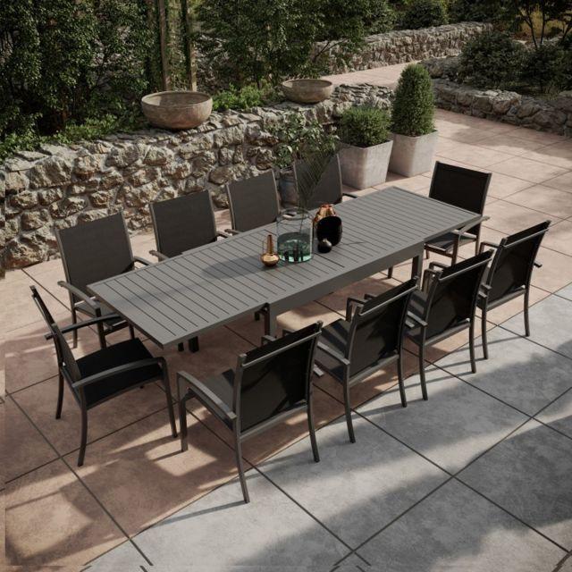 Avril Paris - Table de jardin extensible aluminium 135/270cm + 10 ...