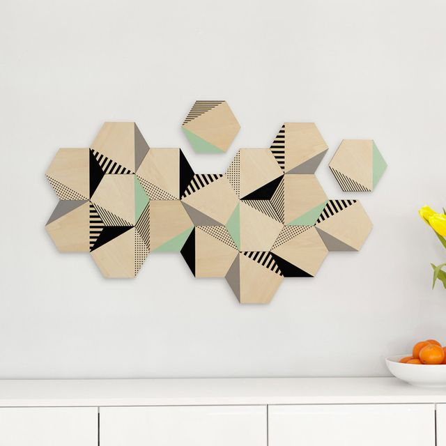 umbra d coration murale adh sive en bois mdf forme hexagone motif scandinave set de 9 hexy. Black Bedroom Furniture Sets. Home Design Ideas