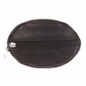 Porte-monnaie L'aiglon rond en cuir lisse noir JjrMq