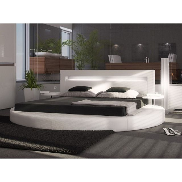 cosy tendance lit rond songe 5 180 200 cm sommier offert blanc pas cher achat vente. Black Bedroom Furniture Sets. Home Design Ideas