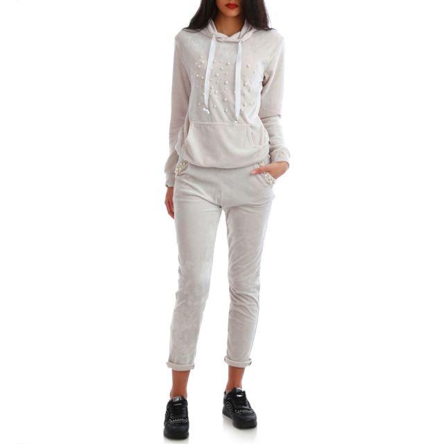 prix bas 100% de qualité supérieure lisse Lamodeuse - Ensemble sweat et pantalon de jogging gris à ...