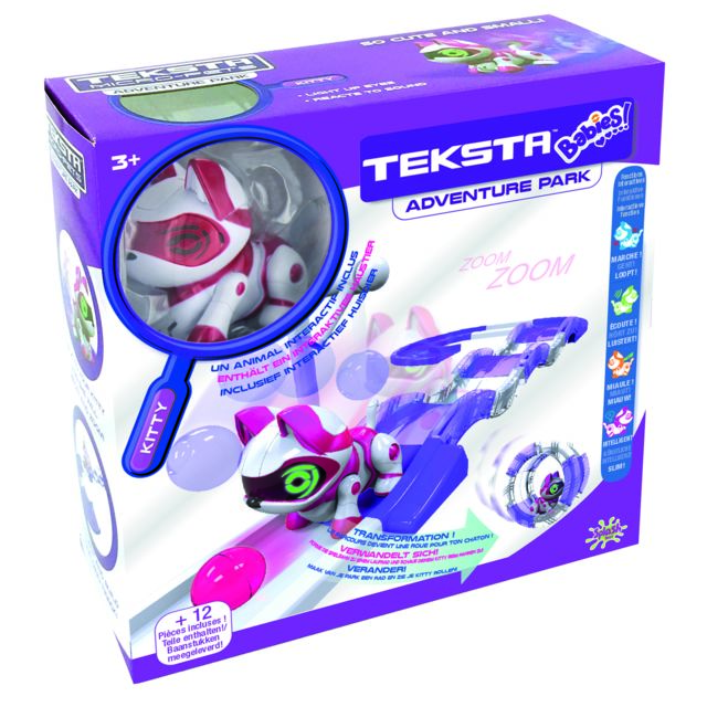 SPLASH TOYS PLAYSET TEKSTA BABIES KITTY - 30625 Les Teksta Babies sont tout petits et interactifs ! Ils ont chacun un parcours amovible et peuvent se connecter entre eux pour encore plus de fun !